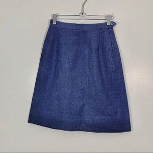 VIntage | NWOT 70's Blue Wool A-Line Mini Skirt